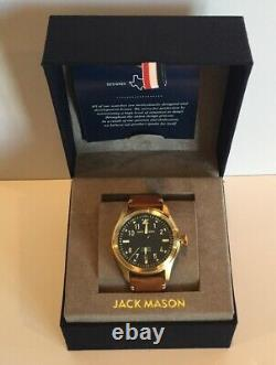 Jack Mason Aviation Watch A101-307 Brown Leather Strap Gold Tone Navy