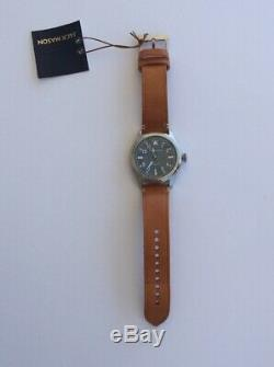 Jack Mason Aviation Watch JM-A101-204 Brown Leather Strap Silver Tone Accents