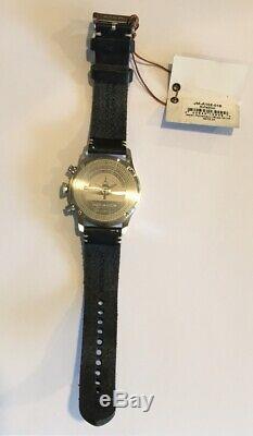 Jack Mason Aviation Watch JM-A102-015 Black Leather Strap Black Dial Silver Tone