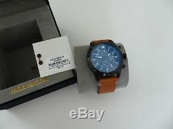 Jack Mason Aviator Chronograph Black 42 mm w Tan Leather Strap RP $275