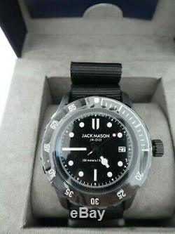 Jack Mason Diver Black Dial Black Bezel w Black One Piece Strap JM-D101-019 $255