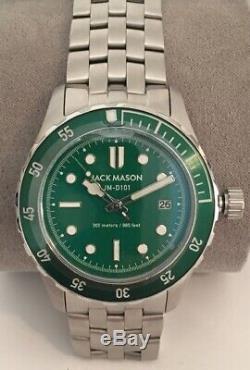 Jack Mason Diver Watch JM-D101-023 Silver Tone Green