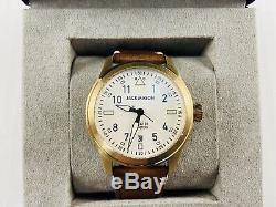 Jack Mason JM-A101-307 Aviation White Dial Saddle Brown Leather 3 Hand Watch NWT