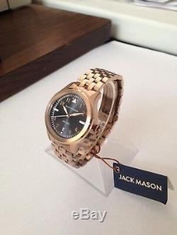 Jack Mason JM-A201-009 Aviation Grey Dial Date Rose Gold-tone Bracelet Watch