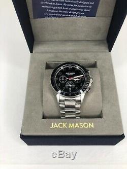 Jack Mason Men's Camber Chronograph Black Silver SS JM-R112-002, New