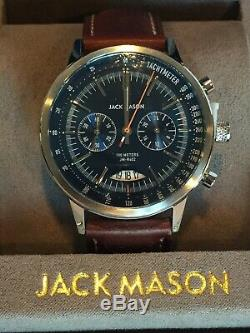 Jack Mason Racing Watch R402-001 Chrono Perforated Brown Leather Strap Stainless