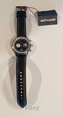 Jack Mason Racing Watch R402-003 Chrono Perforated Black Leather Strap Stainless