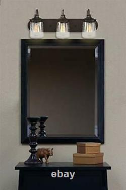 Kira Home Mason 23 3-Light Industrial Vanity/Bathroom Light + Seeded Glass S