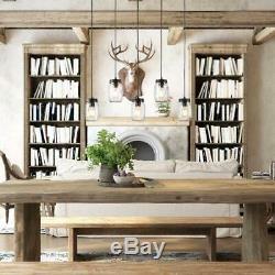 Kitchen Pendant Light Fixture Hanging Mason Jar Wooden Chandelier Brown New