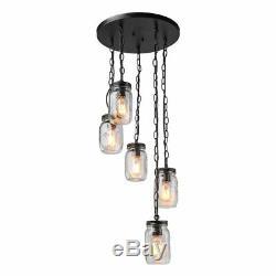 LNC 5-Light Chandelier Lighting Spiral Glass Mason Jar Ceiling Light Linear