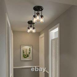 LNC Flush Mount Ceiling Light FixtureFarmhouse Mason Jar Glass Pendant for Ki