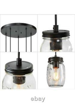 LNC Zook DIY Farmhouse Chandelier 5-Light Bronze Adjustable DIY Mason Jar Light