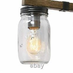 LOG BARN Rustic Bathroom Vanity Light with Mason Jar Glass, 29 inches, Brown