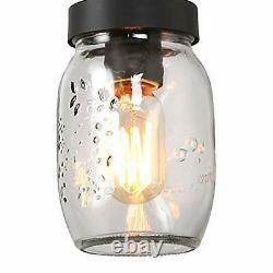LOG BARN Rustic Mason Jar Chandelier Farmhouse Lighting Metal Finish Glass Ha