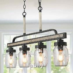 LOG BARN Rustic Mason Jar Glass Lights Farmhouse Chandelier Hanging Pendant