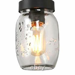 LOG BARN Rustic Mason Jar Lights Farmhouse Chandelier Metal Finish with Glass