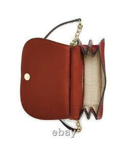 Lauren Ralph Lauren Mason Croc-Embossed Leather Satchel Red Gold MSRP $250
