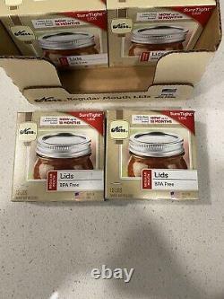 Lot Of 24 Kerr Regular Mouth Mason Lids, Home Canning Jar 288 lids Total FAST