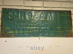 MASONS Old Fashioned Root Beer Soda Pop Porcelain Metal Sign 12x30 1950s VTG