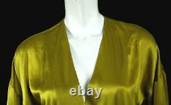 MICHELLE MASON Honey Gold Satin Silk Long Sleeve V-Neck Bodysuit 2