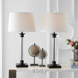 Mason 30 in. Black/Clear Glass and Metal Table Lamp (Set of 2) by JONATHAN Y