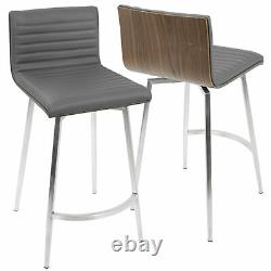 Mason Contemporary Swivel Counter Stool in Stainless Steel, Walnut Wood, and