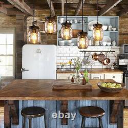 Mason Jar Chandelier Kitchen Island Lighting Rustic Metal Pendant Light Fixture
