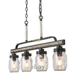 Mason Jar Chandelier Kitchen Island Lighting Rustic Wood Farmhouse Light Fixture