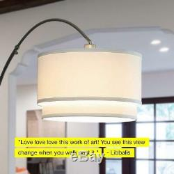 Mason Standing LED Floor Lamp- Modern Arc Lamp with Hanging Shade Marble Nickel
