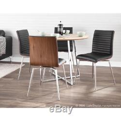 Mason Swivel Dining Chair In Black Faux Leather, Walnut Wood And Stainless Steel