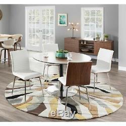 Mason White Swivel Chair Stainless Steel and Walnut Wood White/Walnut N/A