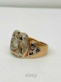 Masonic Mason 32nd Degree Vintage 14K Yellow Gold OEC Natural Diamond