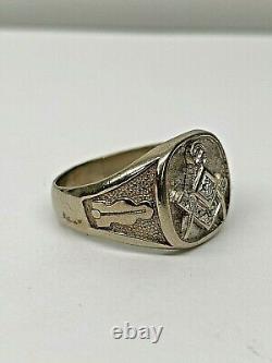 Masonic Mason Vintage 10K White Gold & Diamonds