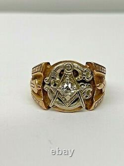 Masonic Mason Vintage 10k-14K Yellow Gold OEC Natural Diamond