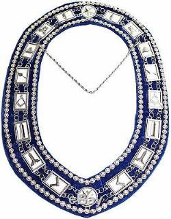 Masonic Regalia BLUE MASTER MASON DELUXE RHINESTONE Metal Chain Collar 400DSBRS