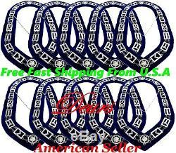 Masonic Regalia Master Mason 10 Pcs Lot SILVER Metal Chain Collar BLUE Backing