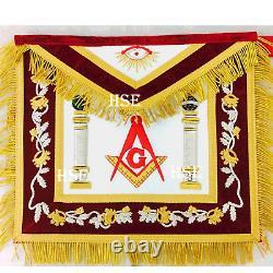 Masonic Regalia Master Mason Apron With Metal Chain Collar Red Velvet-hse