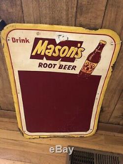 Masons Root Beer Advertising Metal Embossed Sign Chalkboard