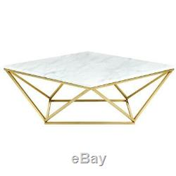 Meridian Furniture Mason Contemporary Stone Coffee Table in Gold