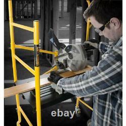 MetalTech Job Site Scaffold Folding Rolling 900 lbs. Load Capacity with Tool Shelf