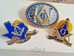 Metal Badges Masonic gold tone Lot of 3 New & Rare Mason Pin Badges unique