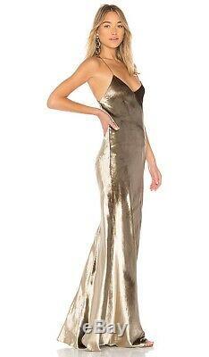 Michelle Mason Bias Maxi Dress in Antique Gold