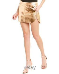Michelle Mason Metallic Leather Mini Skirt Women's