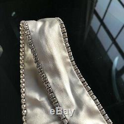 Michelle Mason Silk Midi Dress Platinum Crystal Bejeweled Slip On Luxury 6 NWOT