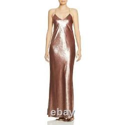 Michelle Mason Womens Pink Metallic Open Back Formal Evening Dress 6 BHFO 8809