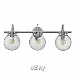 Mill & Mason Irving Chrome Three-Light Vanity with Glass Globe Shade