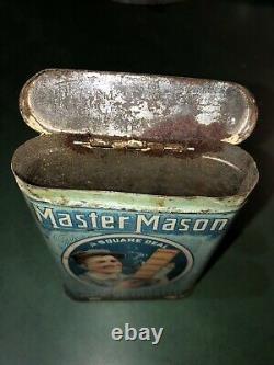 NICE! HTF! MASTER MASON! VERTICAL POCKET TOBACCO TIN Metal Can Vintage Rock City