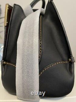 NWT Coach 1941 Mason Metal Tea Rose Satchel Bag Glovetanned Leather Black 38716
