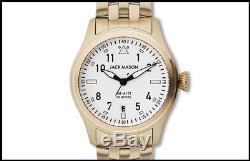 NWT Jack Mason JM-A101-321 42mm Gold Tone Aviator Watch on Bracelet
