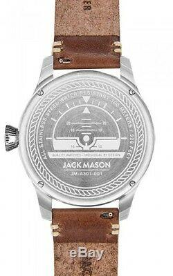 Never Used Jack Mason Aviator Watch / Navy Dial Brown Leather Strap Jm-a301-001
